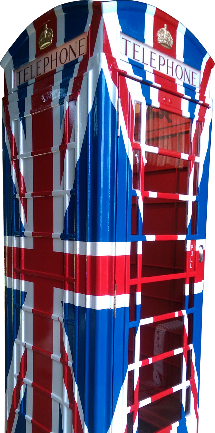 Bespoke Union Jack version of K6 Telephone Kiosk